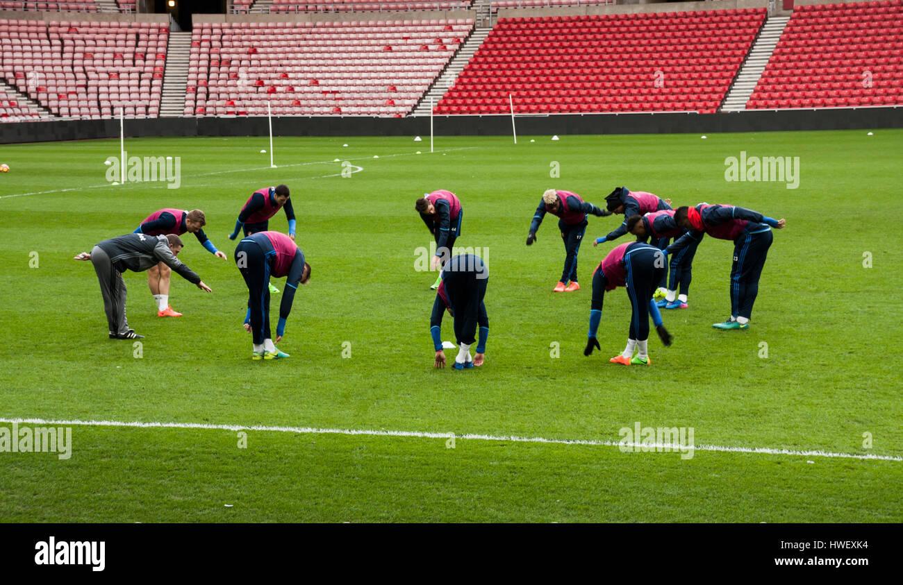 Sunderland footballers training on the pitch at Sunderland AFC,England - Stock Image