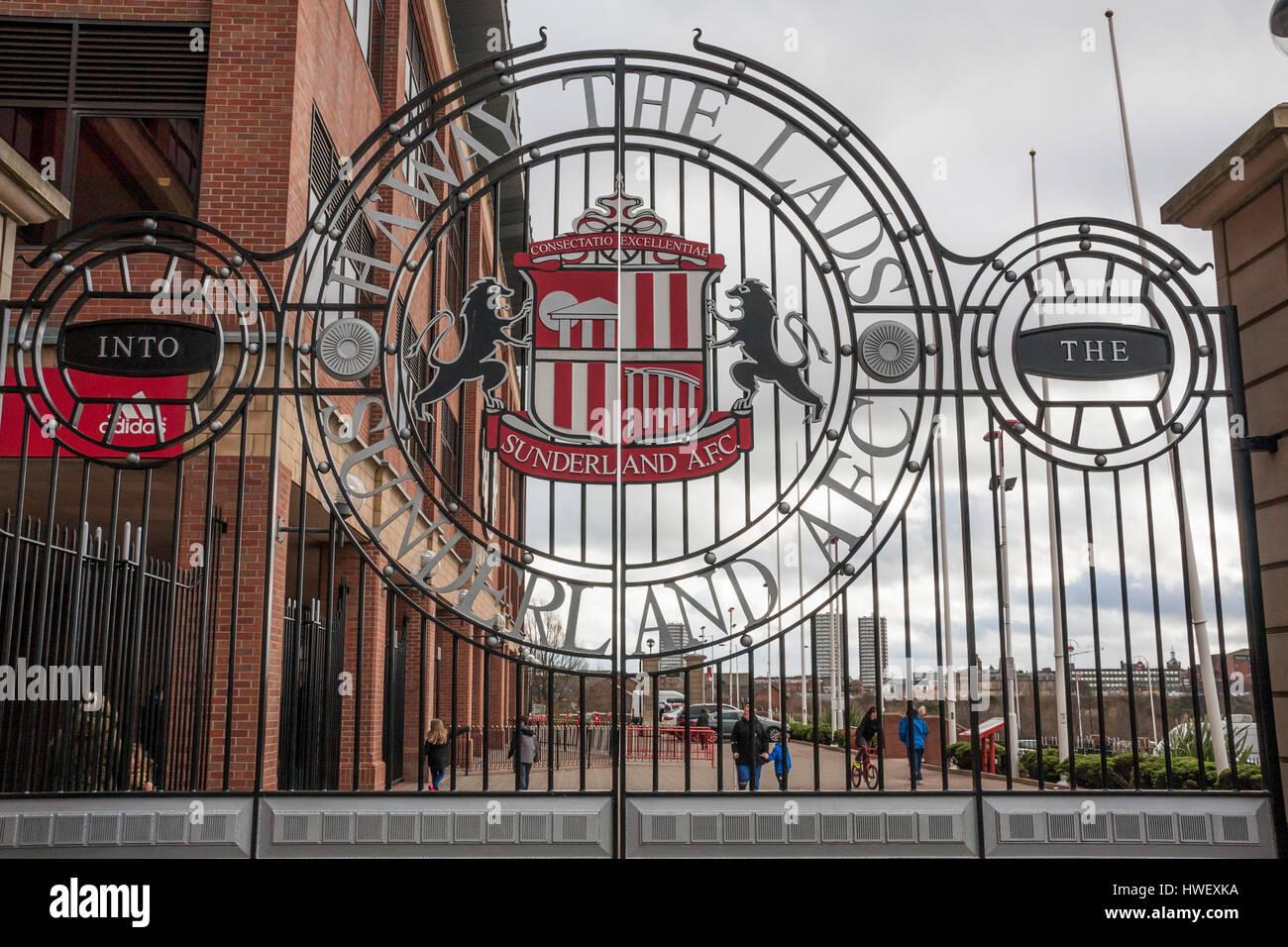 The club gates outside the Stadium of Light, Sunderland, England - Stock Image