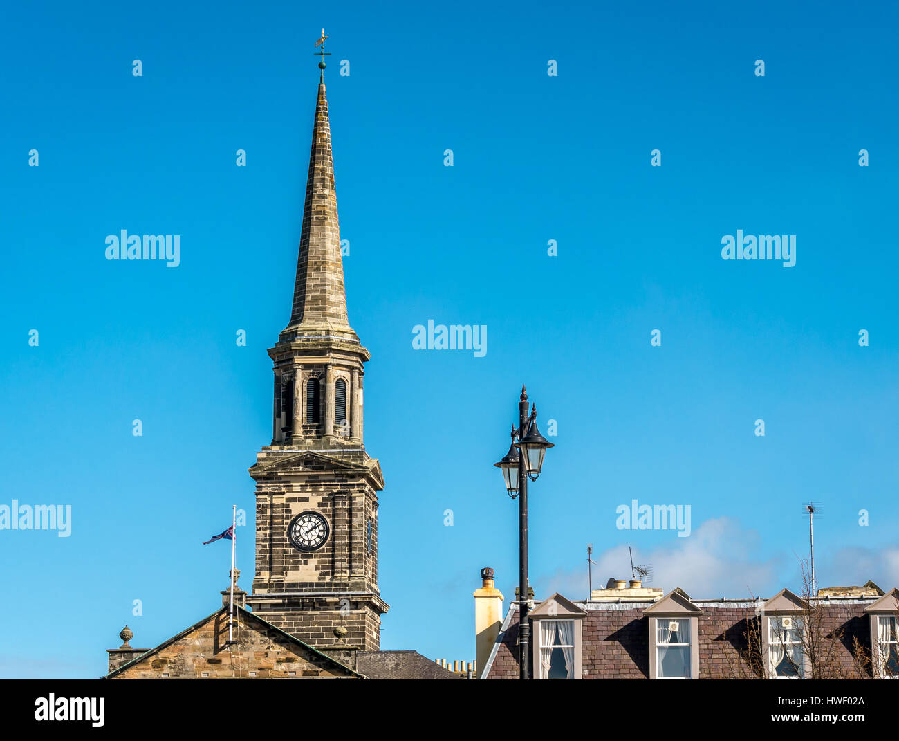 Looking up at spire of Town Hall, Haddington, East Lothian, Scotland, UK - Stock Image