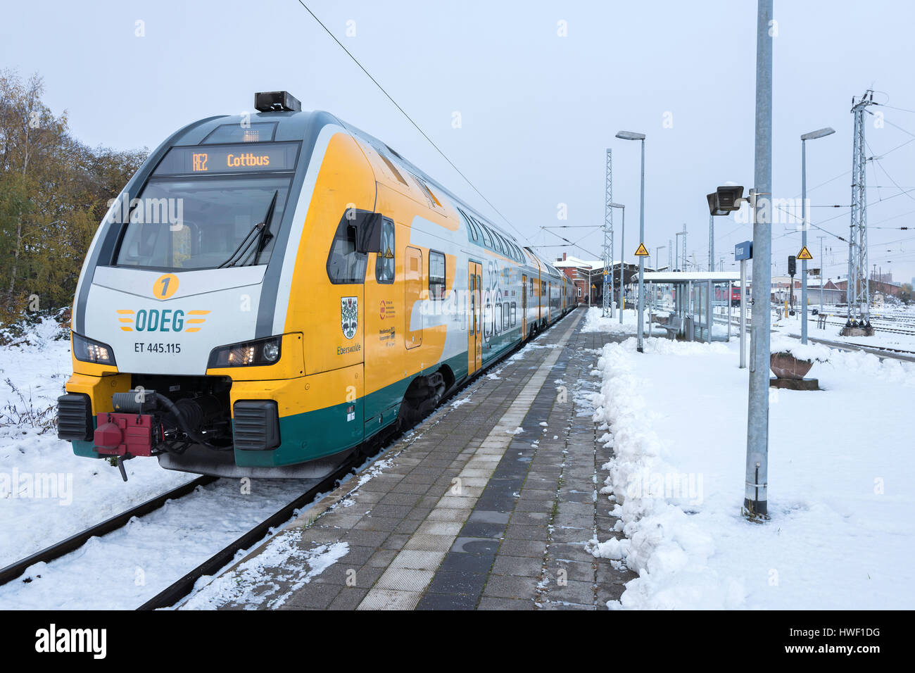 ODEG (Ostdeutsche Eisenbahn GmbH) regional train in the station of Wismar. - Stock Image