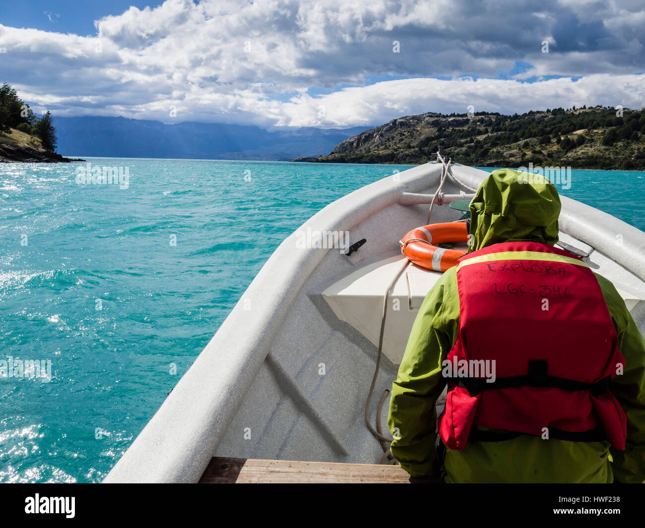 Sightseeing boat heading out to the marble caves, from Puerto Rio Tranquilo, Aysen region, Patagonia, Chile - Stock Image