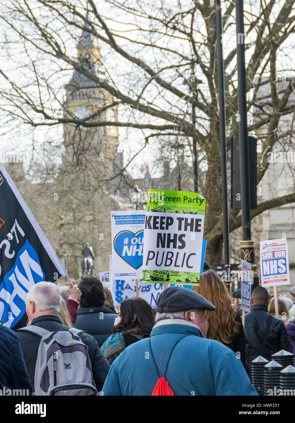 Thousands march in protest over plans for 'unprecedented' cuts to the NHS in London, England, UK.  4th March 2017 Stock Photo