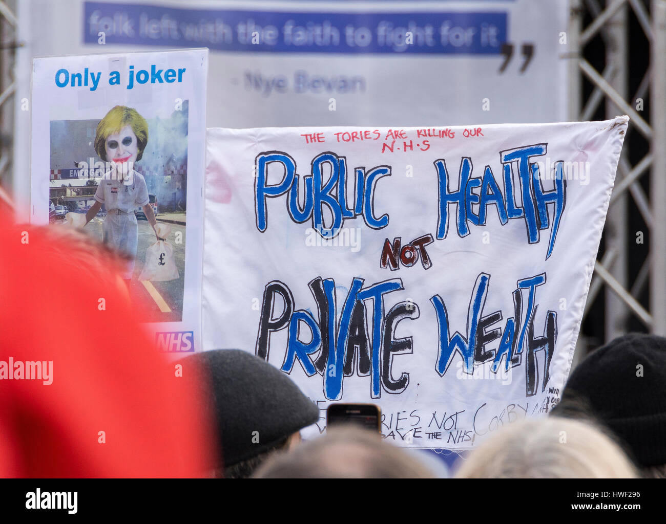Thousands march in protest over plans for 'unprecedented' cuts to the NHS in London, England, UK.  4th March - Stock Image