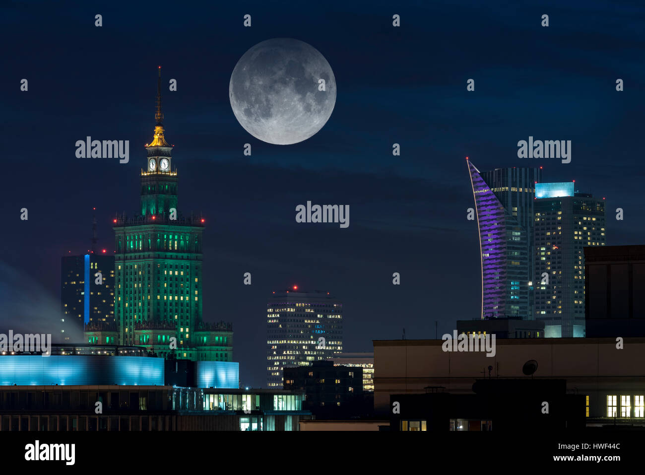 Full moon over Warsaw city a capital of Poland - Stock Image