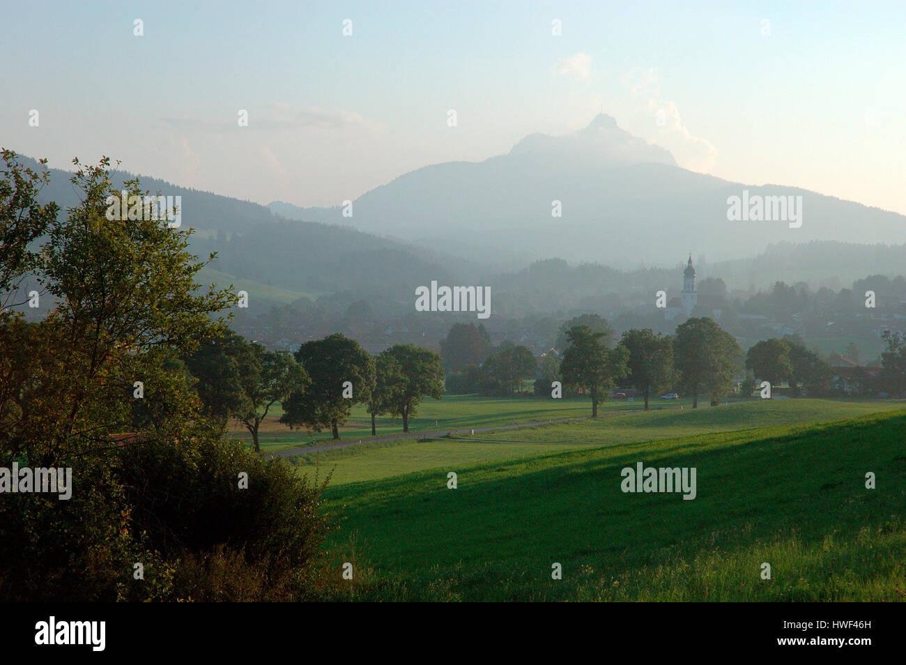 Alpine pastures in the Wertachtal valley with Grünten mountain peak in background, Wertach, Oberallgäu, Bavaria, Stock Photo