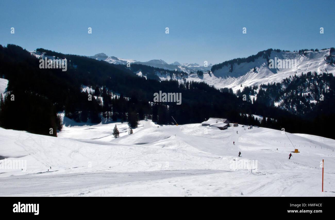 Panoramic view of the Ski slopes of Balderschwangen, Bavaira, Germany - Stock Image