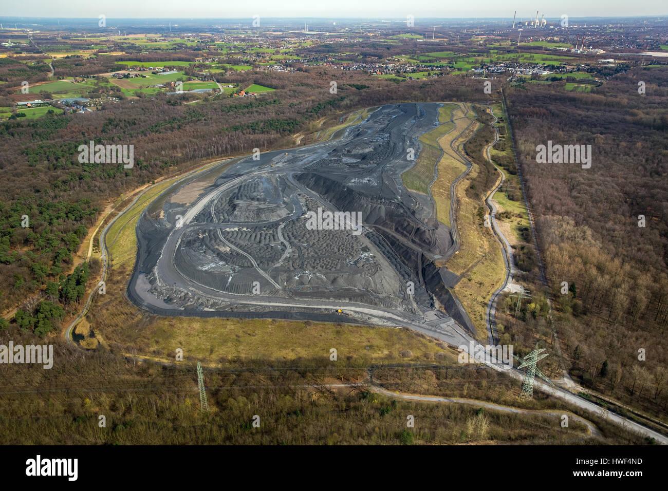 Stockpile, Landfill Schöttelheide, Bergehalde, Ruhr coal, Bottrop-Kirchhellen, Ruhr area, North Rhine-Westphalia, - Stock Image