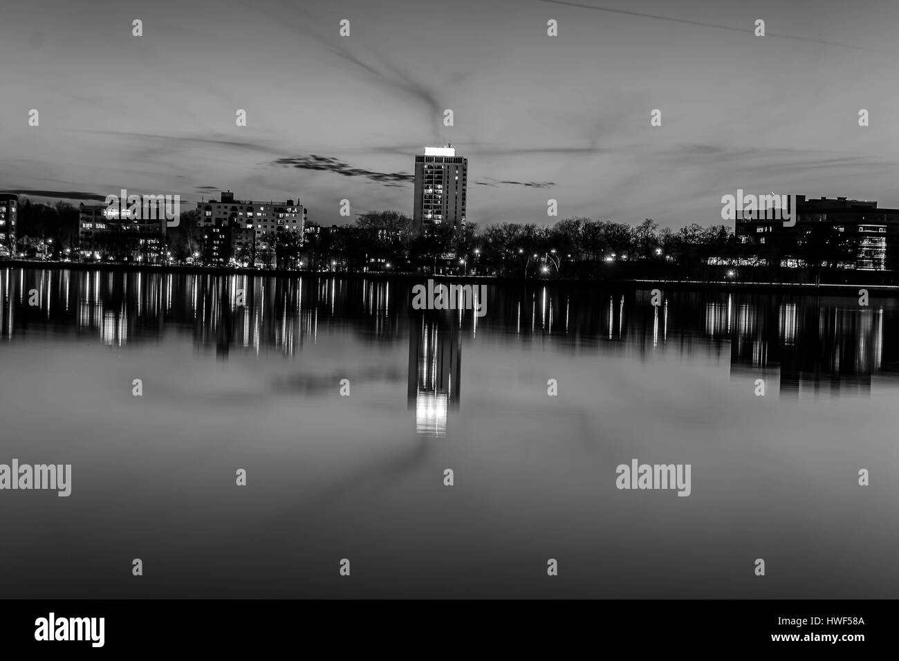 Minneapolis cityscape at night. - Stock Image