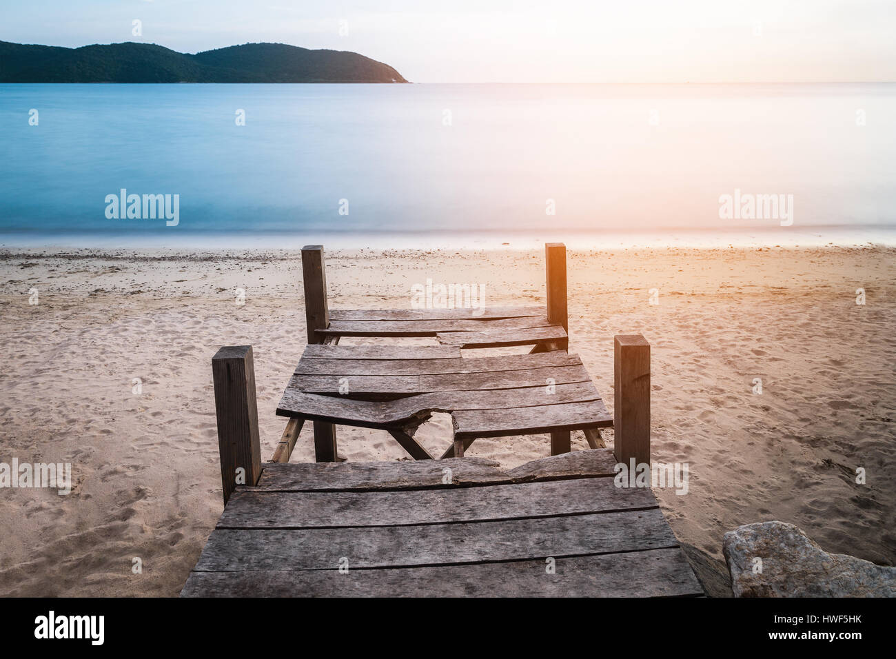 Good Old Broken Wood Terrace On Yellow Sand Beach. Water In Blue With Stock  Photo: 136172671   Alamy