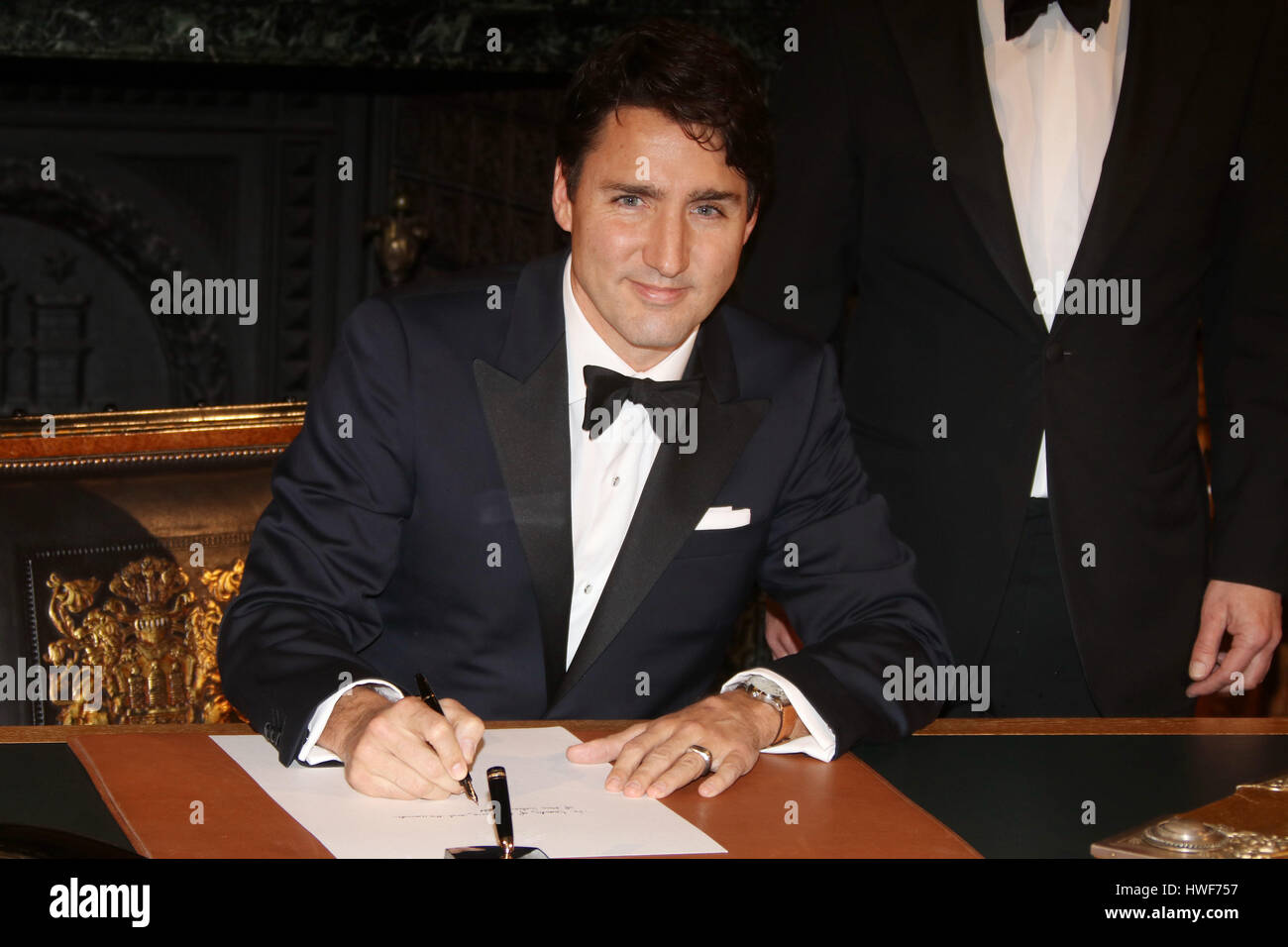 """Guest attending traditional annual Matthiae Mahl"""" (Dinner) 2017  Featuring: kanadischer Premierminister Justin Trudeau Stock Photo"""