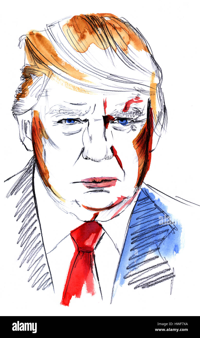 Watercolor portrait of Donald Trump on white - Stock Image