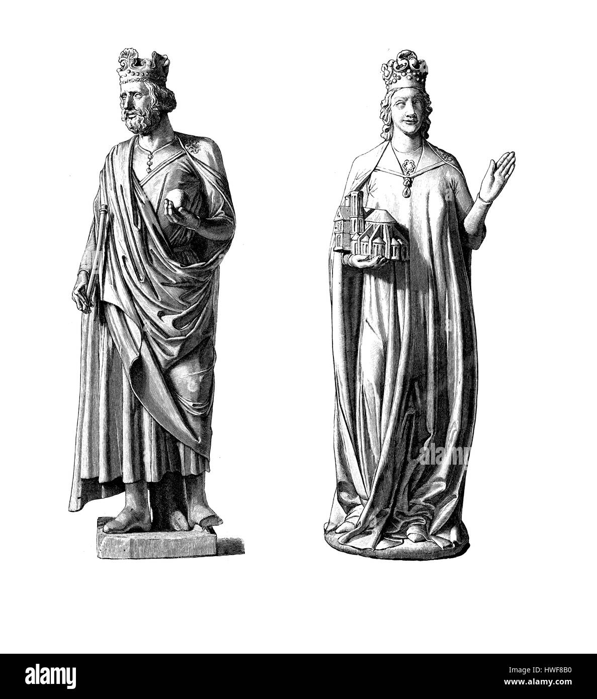 Statues of Henry II, Holy Roman Emperor and his wife Cunigunde of Luxembourg, Bamberg cathedral, XI century - Stock Image