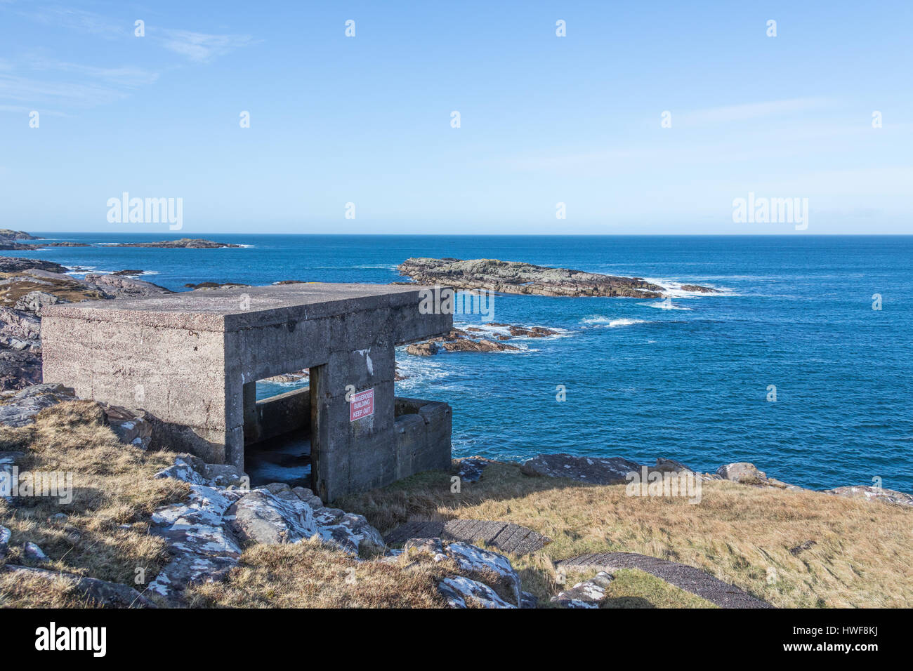 Observation post searchlight battery engine house second world war rubha nan sasan cove battery loch ewe highlands scotland stock image aloadofball Images