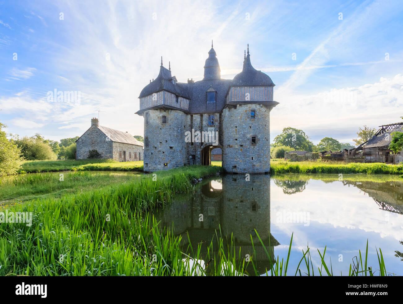 France, Orne , Normandie Maine Regional Natural Park, La Haute Chapelle, la Saucerie Manor - Stock Image