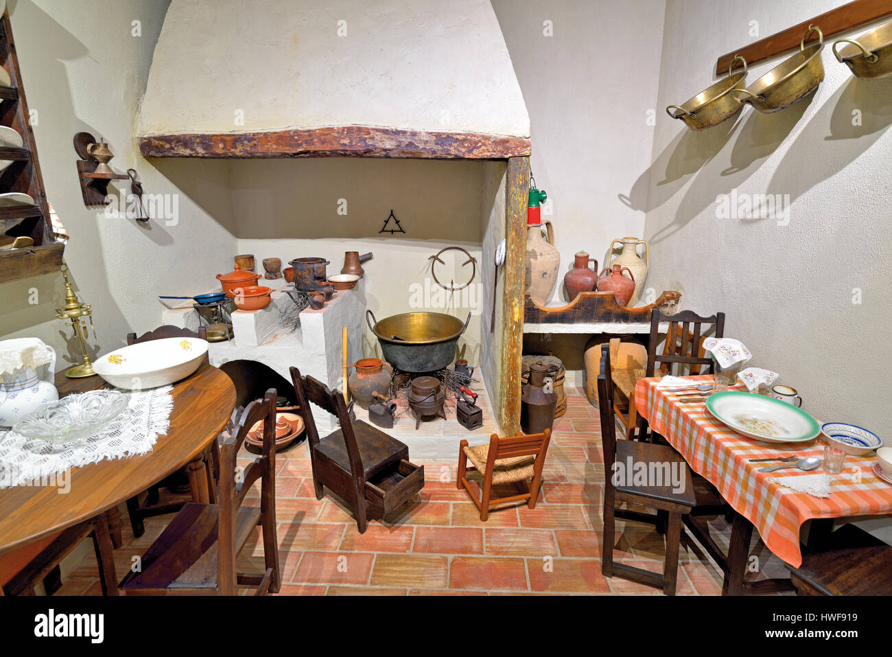 Traditional kitchen of an algarvian rural house in the Museu Municipal in Aljezur - Stock Image