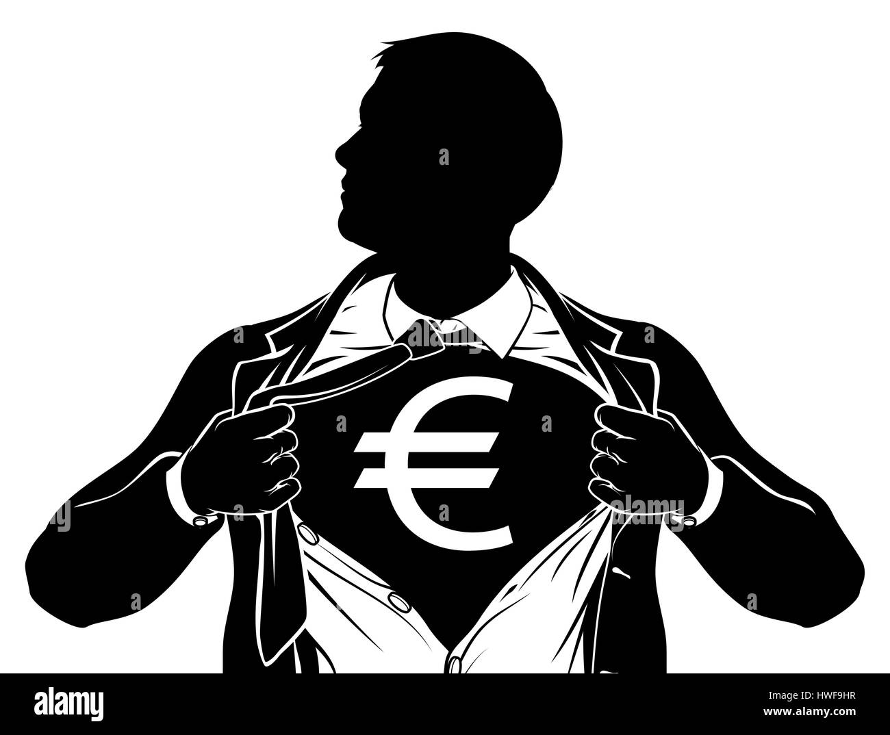 a superhero business man tearing his shirt showing the chest of his