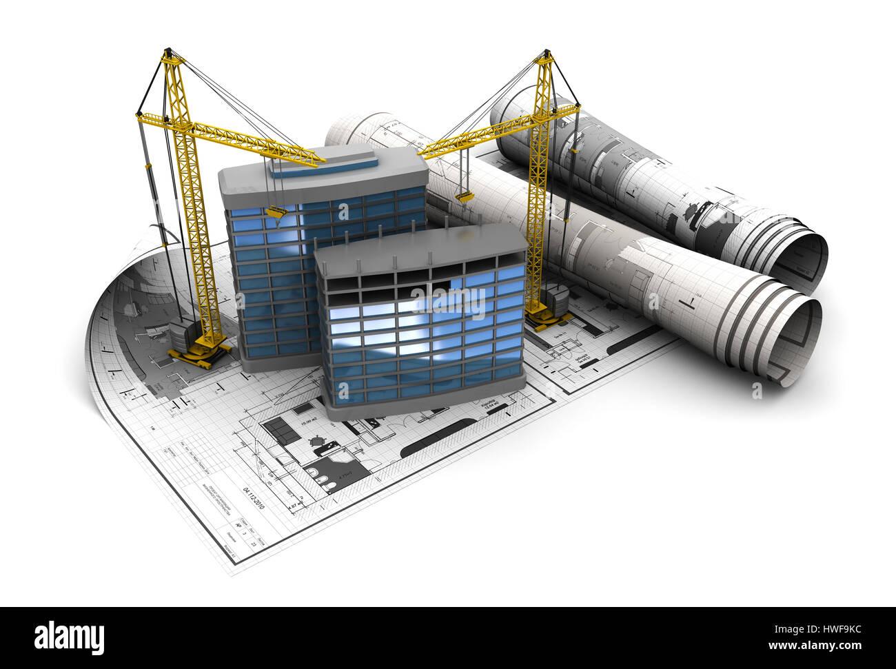 3d illustration of modern building construction concept Stock Photo