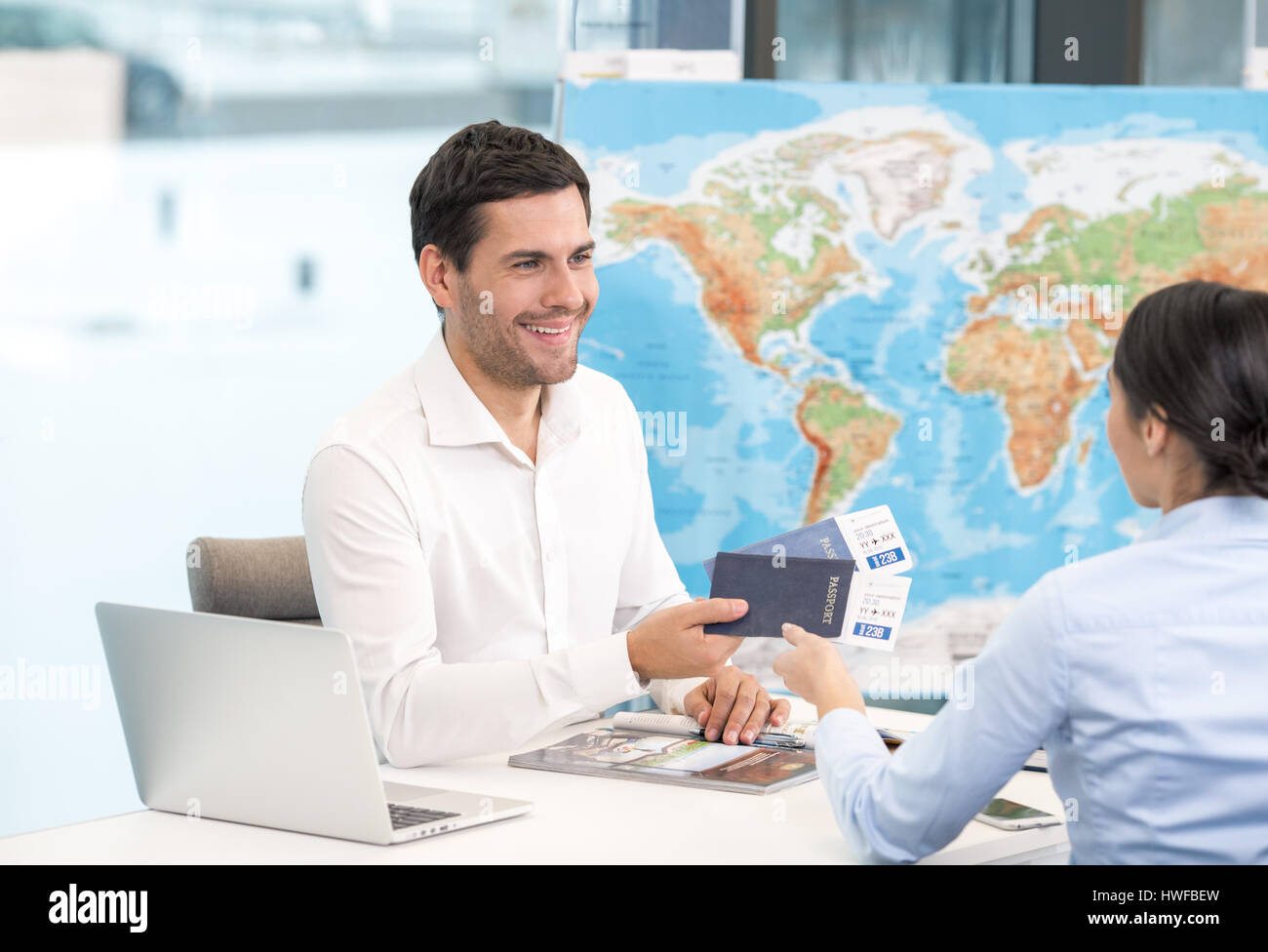 Man and Woman Travel Agency Concept - Stock Image
