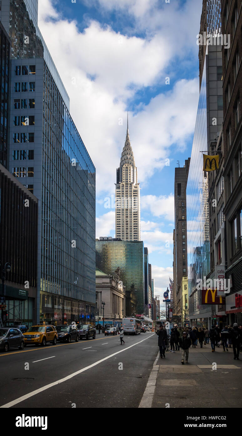 42nd Street in Manhattan and Chrysler Building - New York, USA - Stock Image