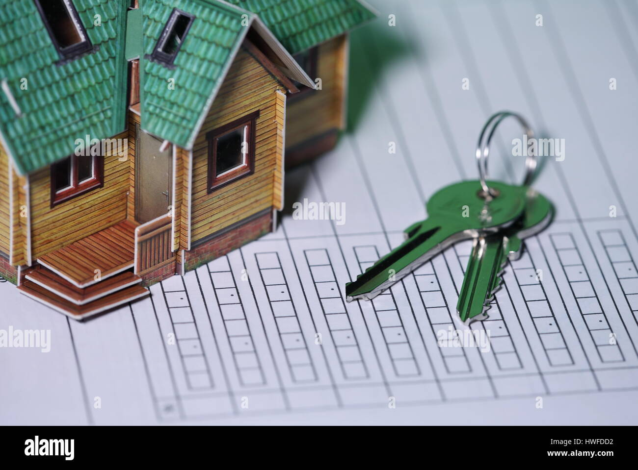 Signs the contract, Concept of investment, credit, real estate, rental - Stock Image