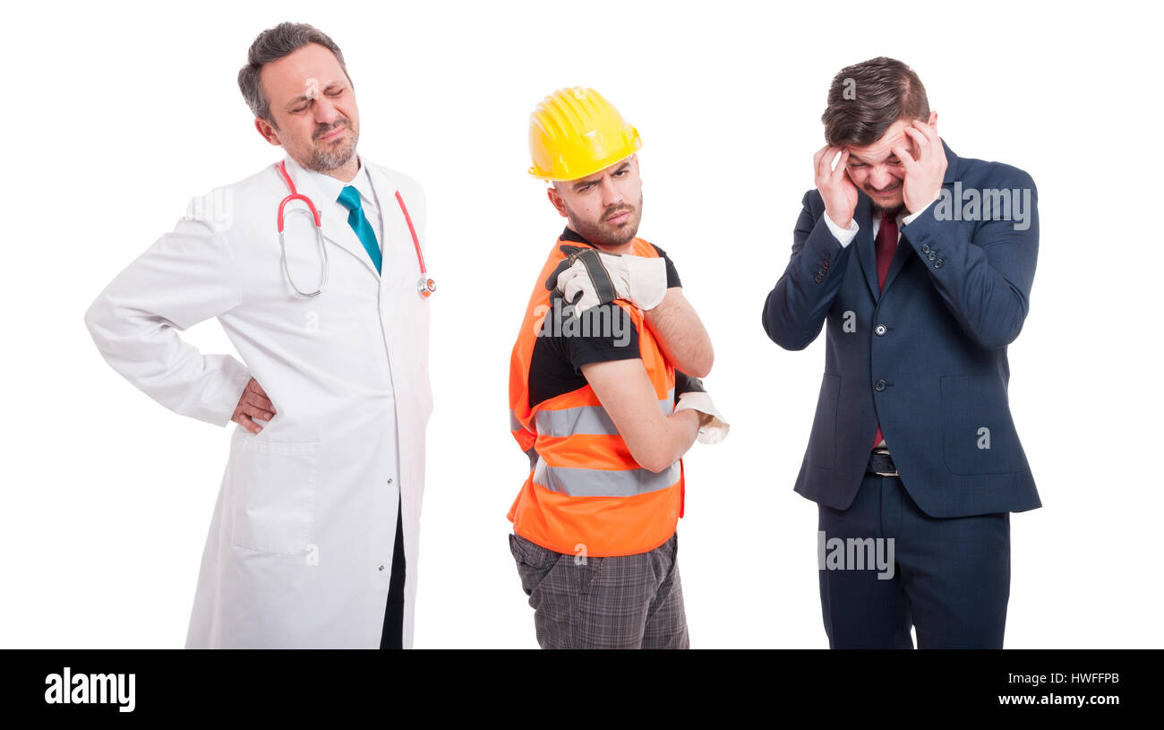 Stressful men with health problems with doctor having back pain, builder shoulder injury and businessman headache - Stock Image