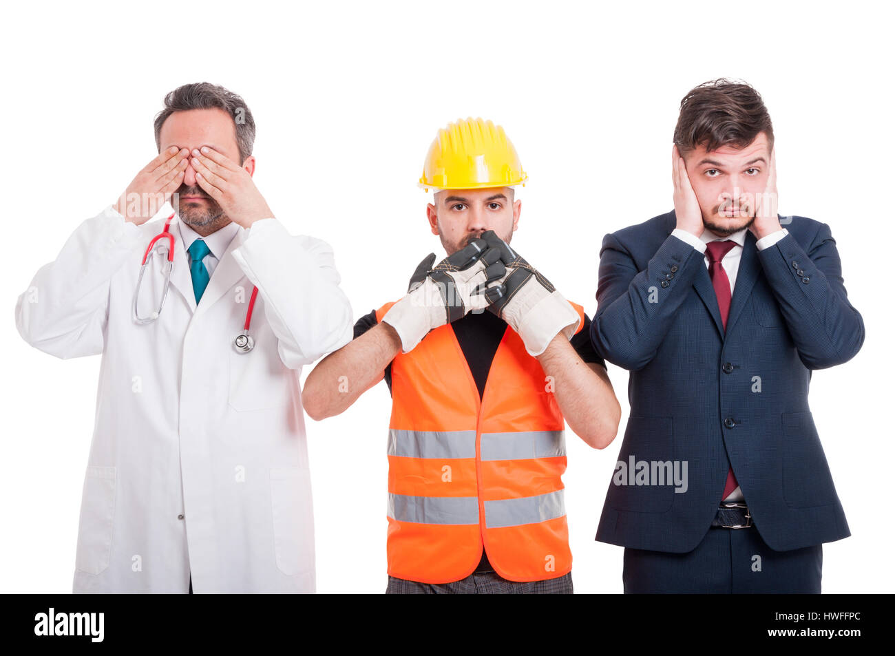 See, speak and hear no evil concept with doctor, engineer and businessman on white background Stock Photo