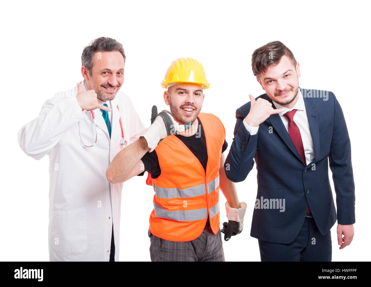 People with different jobs smiling and doing call gesture with their hands isolated on white background - Stock Image