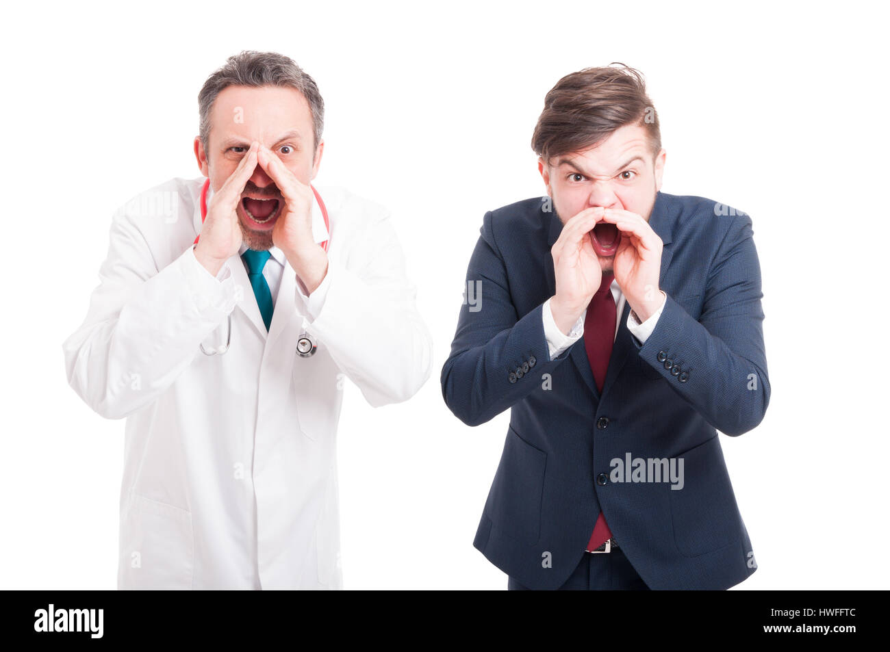 Angry medic or doctor and business man yelling or screaming out loud isolated on white - Stock Image