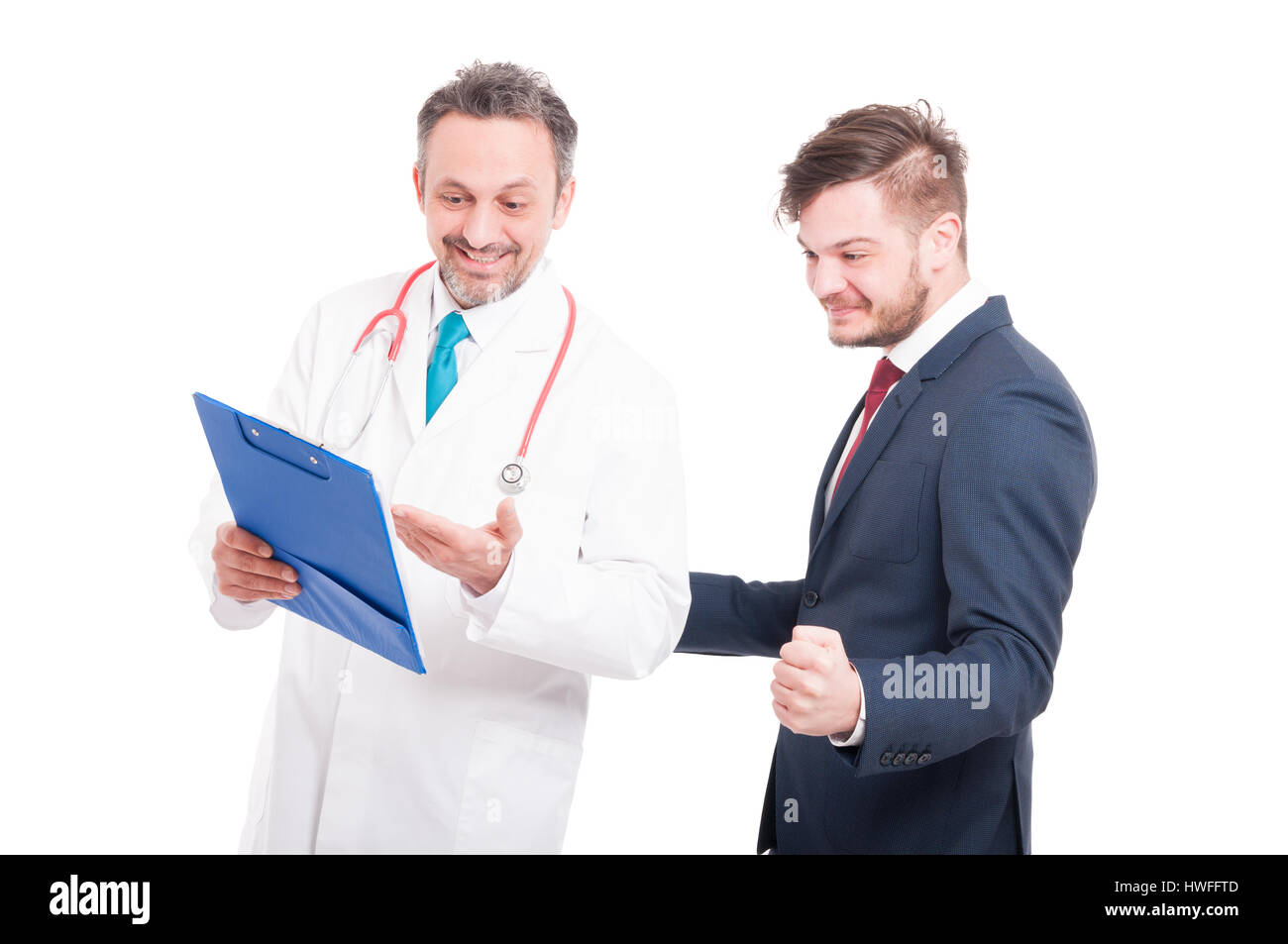 Trustworthy doctor and businessman patient looking happy about medical results isolated on white - Stock Image