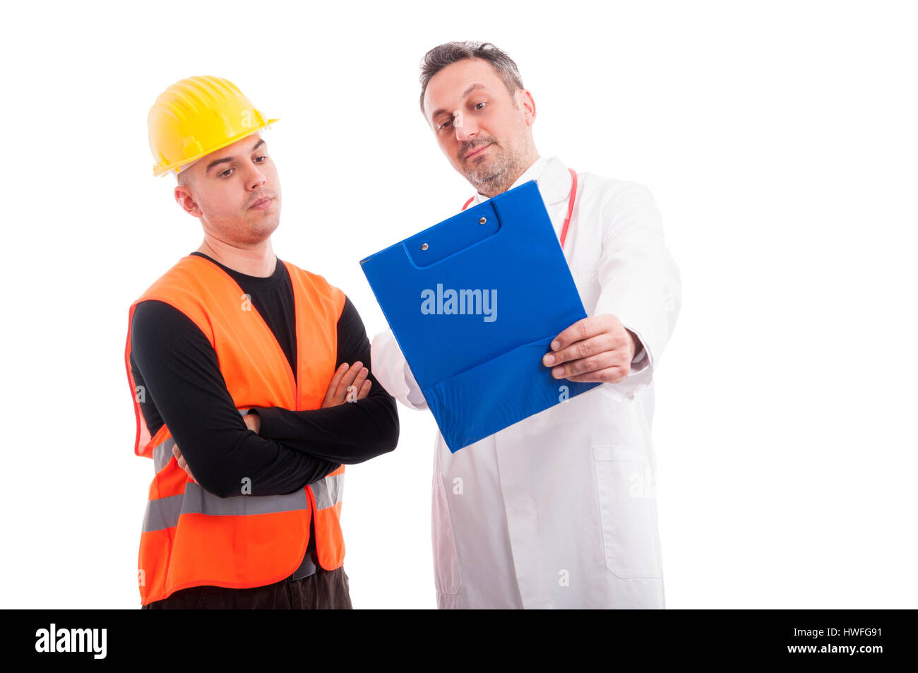 Doctor showing something on clipboard to constructor and looking surprised isolated on white background - Stock Image