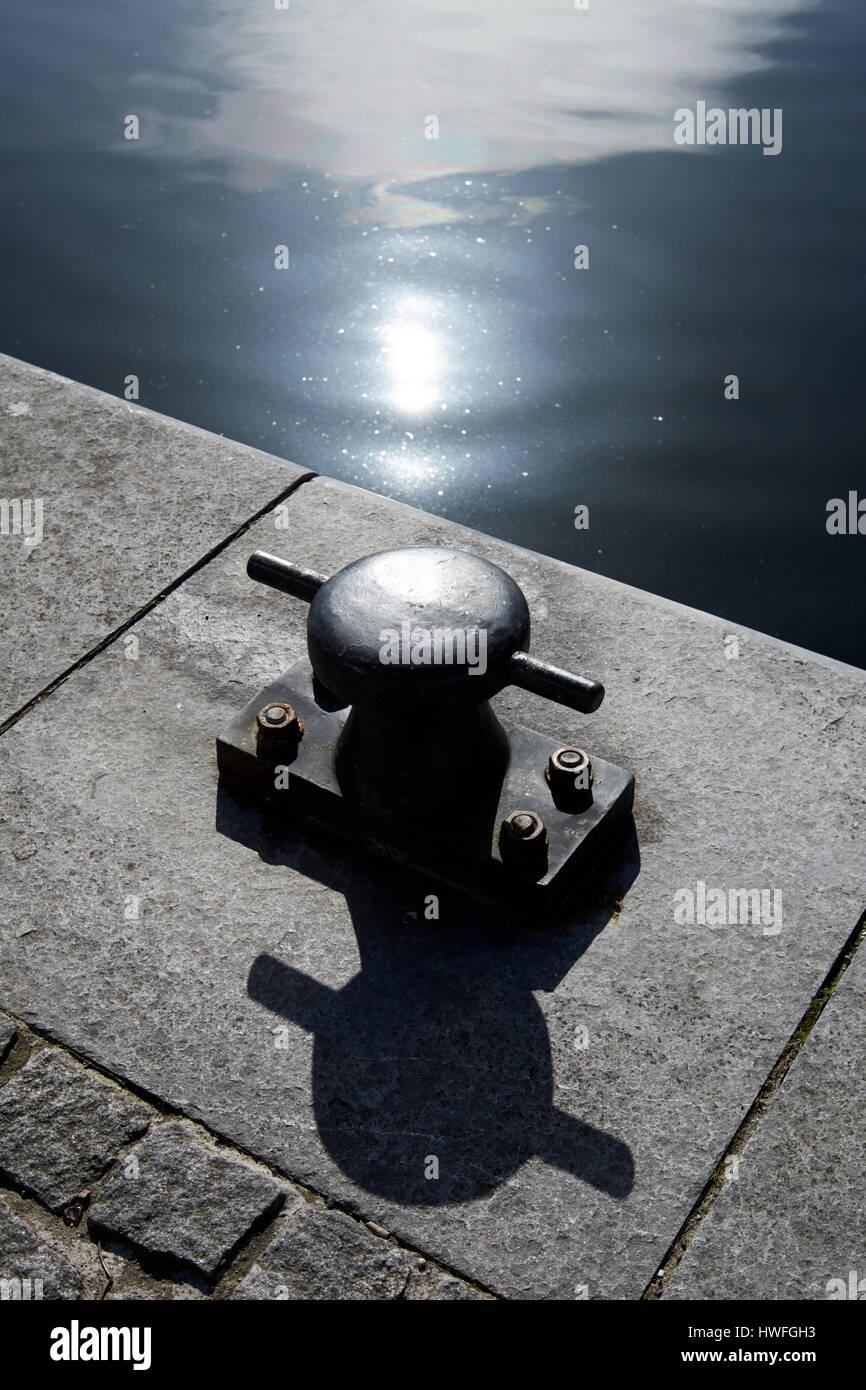 mooring bollard hanover quay grand canal docks Dublin Republic of Ireland - Stock Image