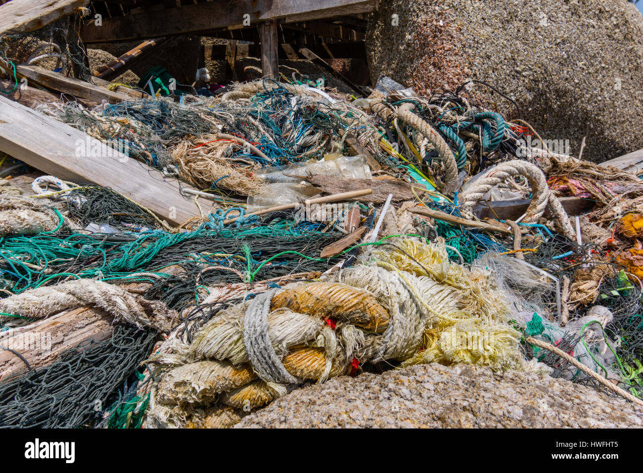 Plastic pollution among the stones on a tropical shore, Rubbish, ropes and cords. Haad Rin, Koh Pangan, Thailand - Stock Image