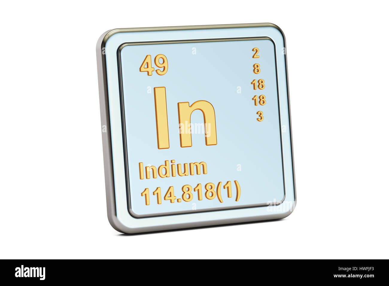 Indium In Chemical Element Sign 3d Rendering Isolated On White