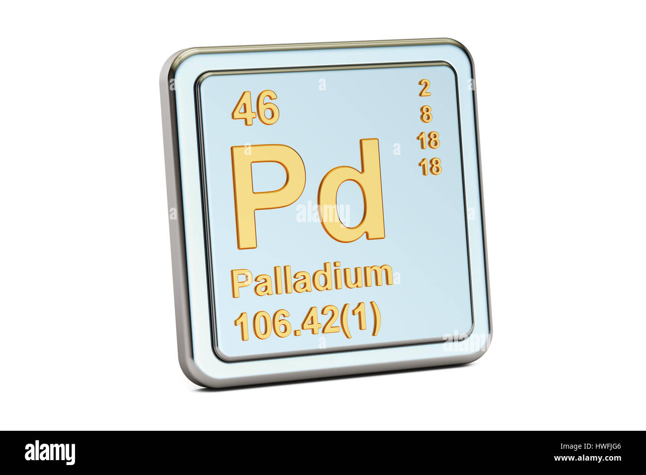 Palladium Pd Chemical Element Sign 3d Rendering Isolated On White