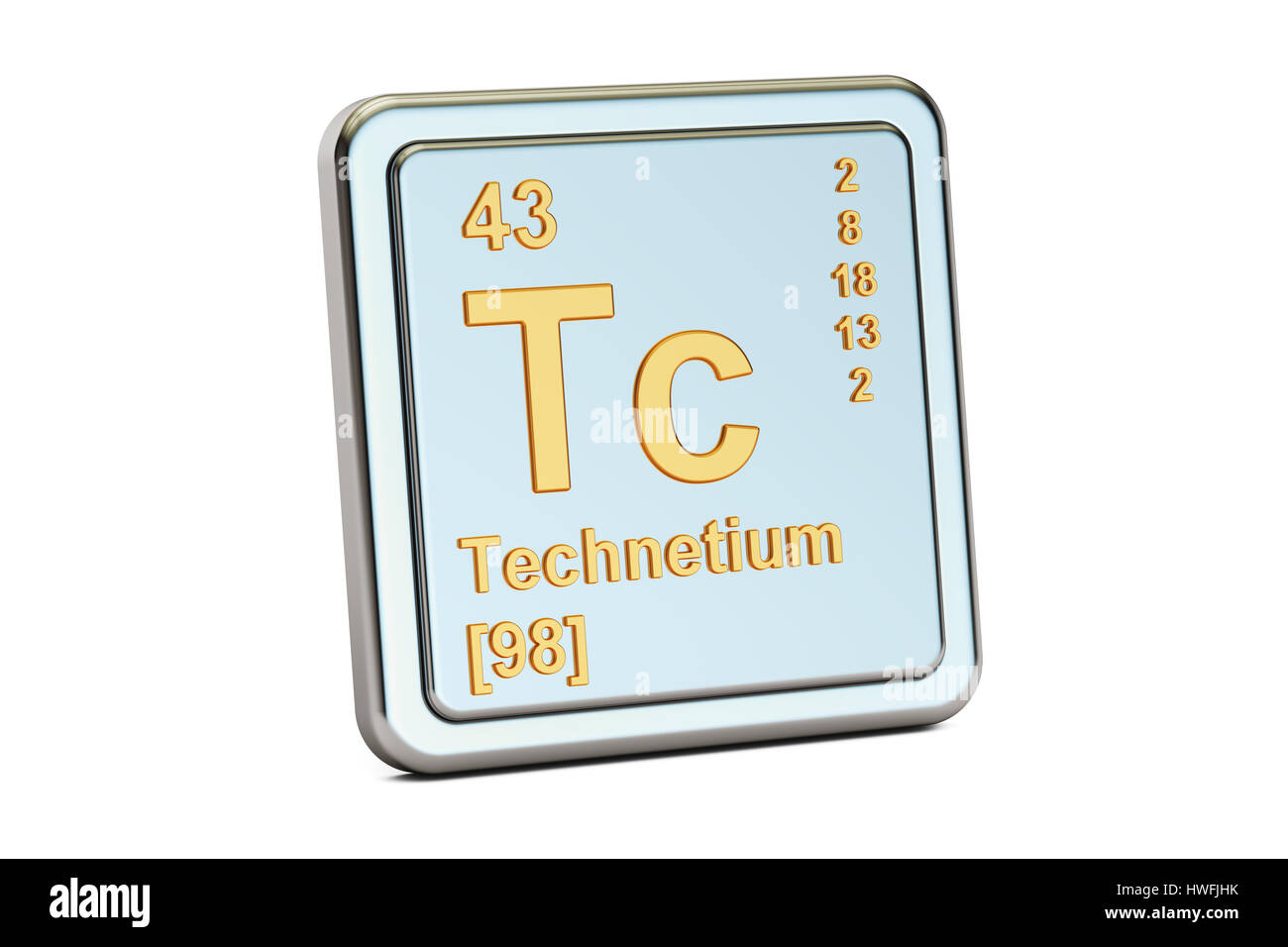 Technetium Tc Chemical Element Sign 3d Rendering Isolated On White