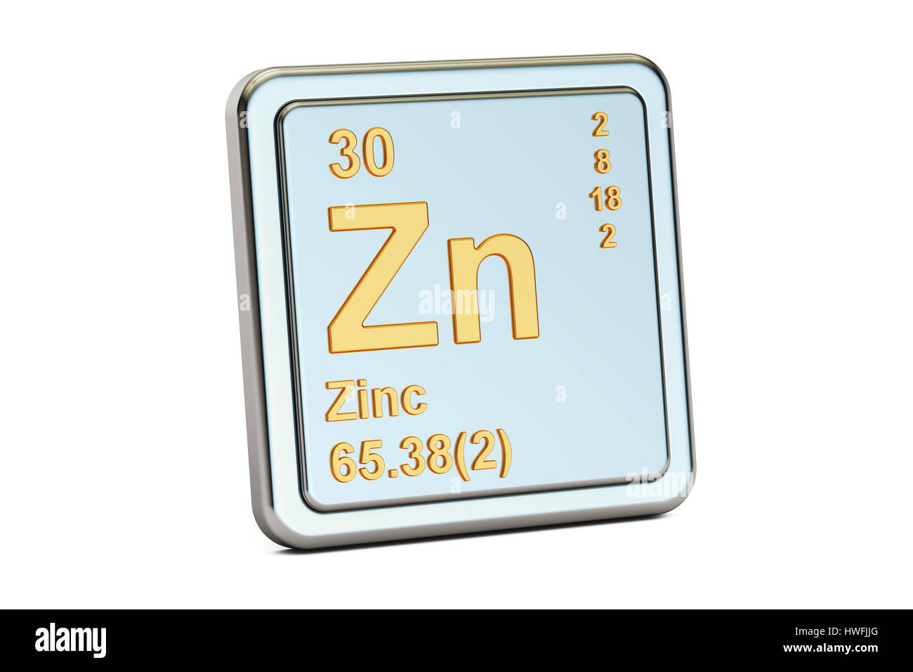 Zinc Zn Chemical Element Sign 3d Rendering Isolated On White Stock