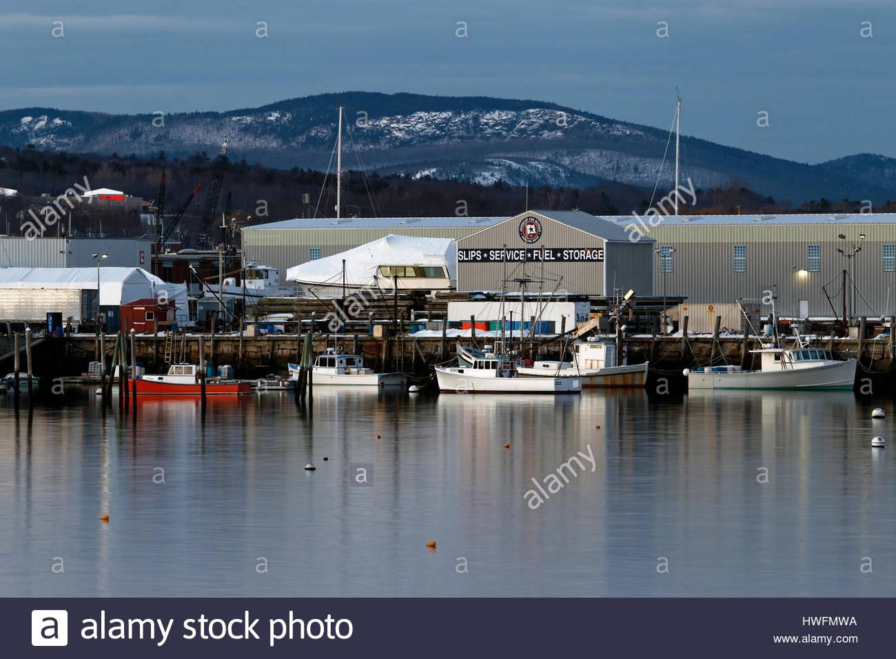 Journey's End Marina, Rockland, Maine, USA - Stock Image