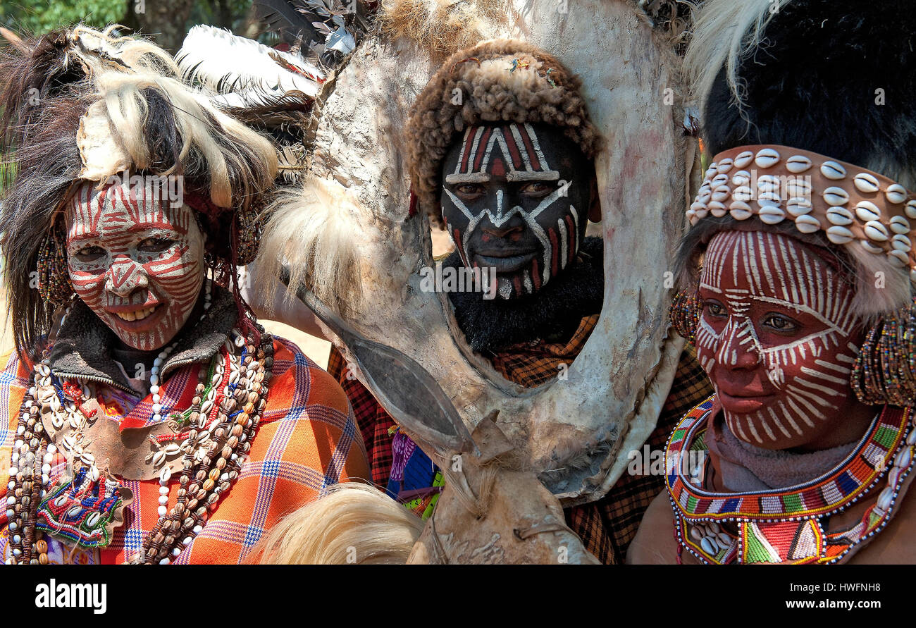 Traditional Kikuy people with their face ornaments. - Stock Image