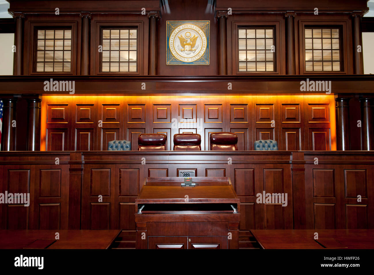 Interior of a United States Federal Appeals Courtroom in Washington DC - Stock Image