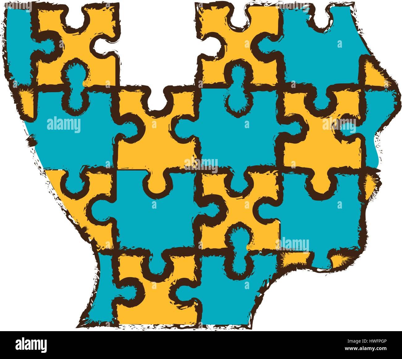 head puzzle pieces image Stock Vector