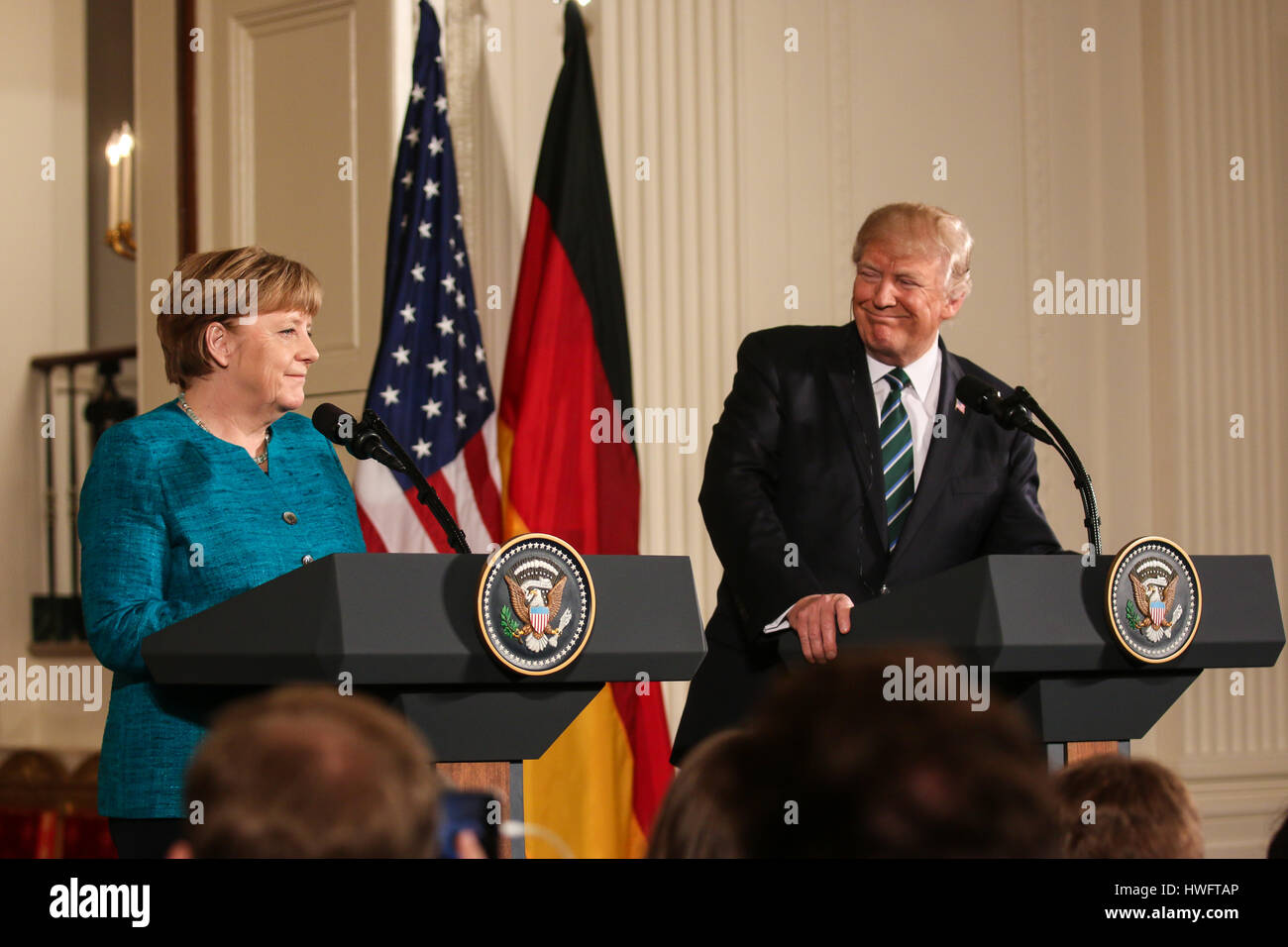 German Chancellor Angela Merkel visits Washington, D.C. on Friday, March 17, 2017 and meets with U.S. President - Stock Image