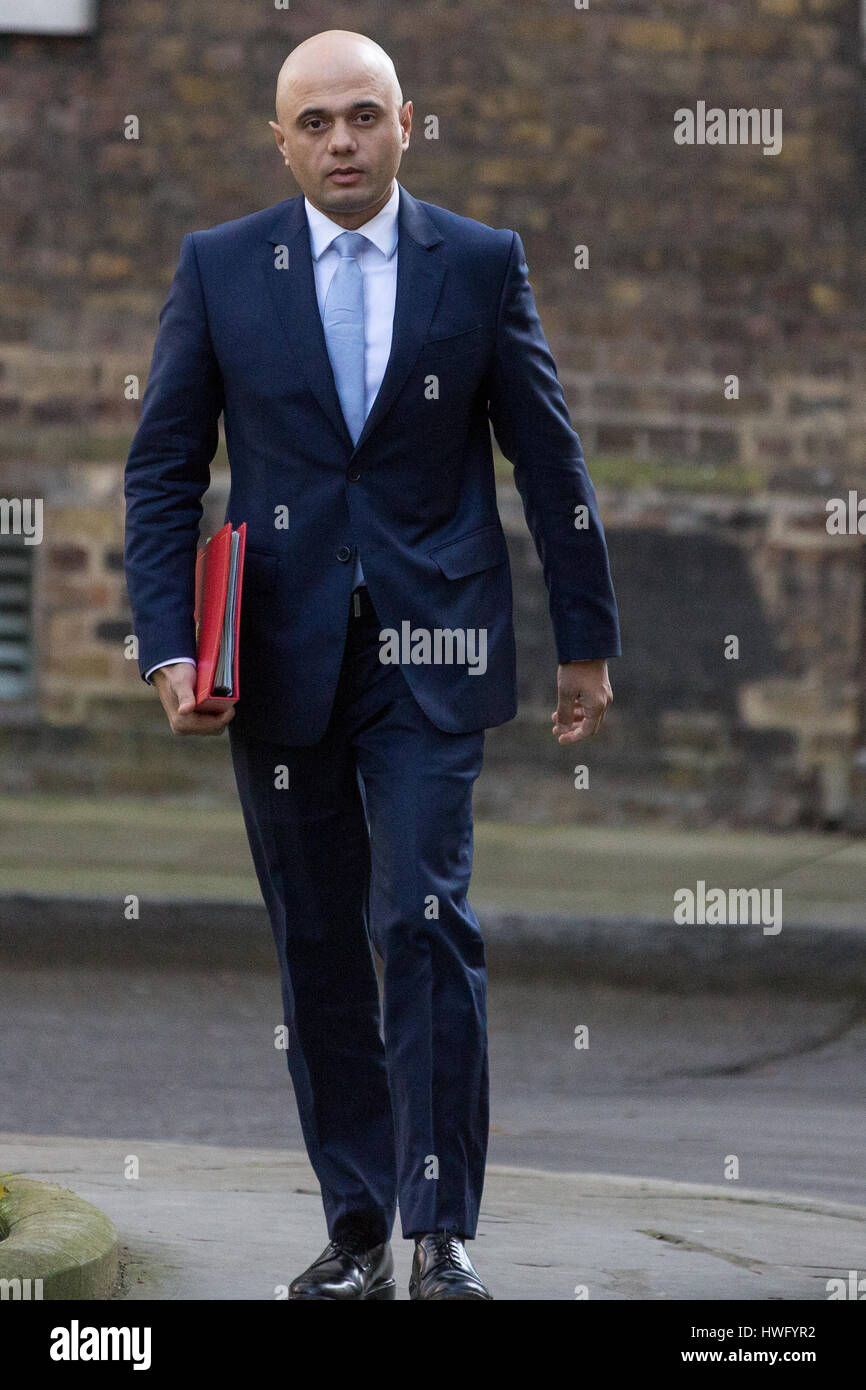 London, UK. 21st Mar, 2017. Sajid Javid MP, Secretary of State for Communities and Local Government, arrives at - Stock Image