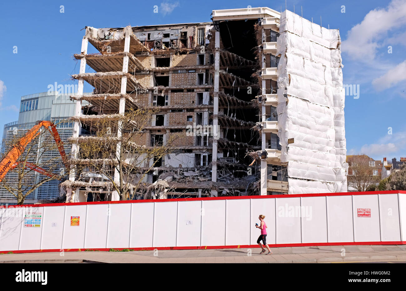 Brighton, UK. 21st Mar, 2017. Demolition work continues on the old Europe headquarters of American Express known - Stock Image