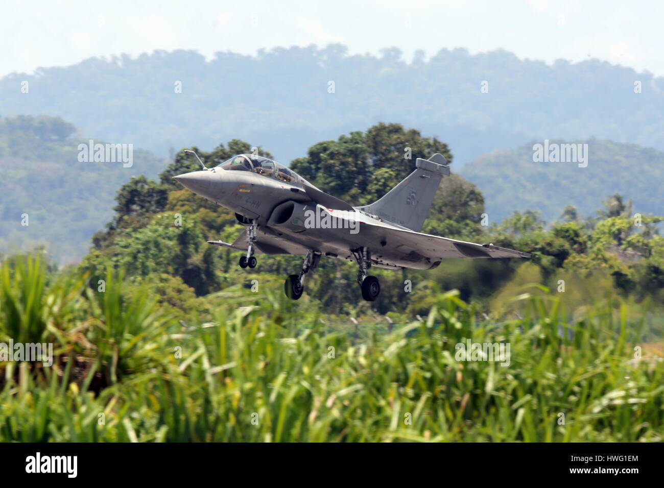 Langkawi, Malaysia. 21st Mar, 2017. The Dassault Rafale French twin-engine, canard delta wing, multirole fighter - Stock Image