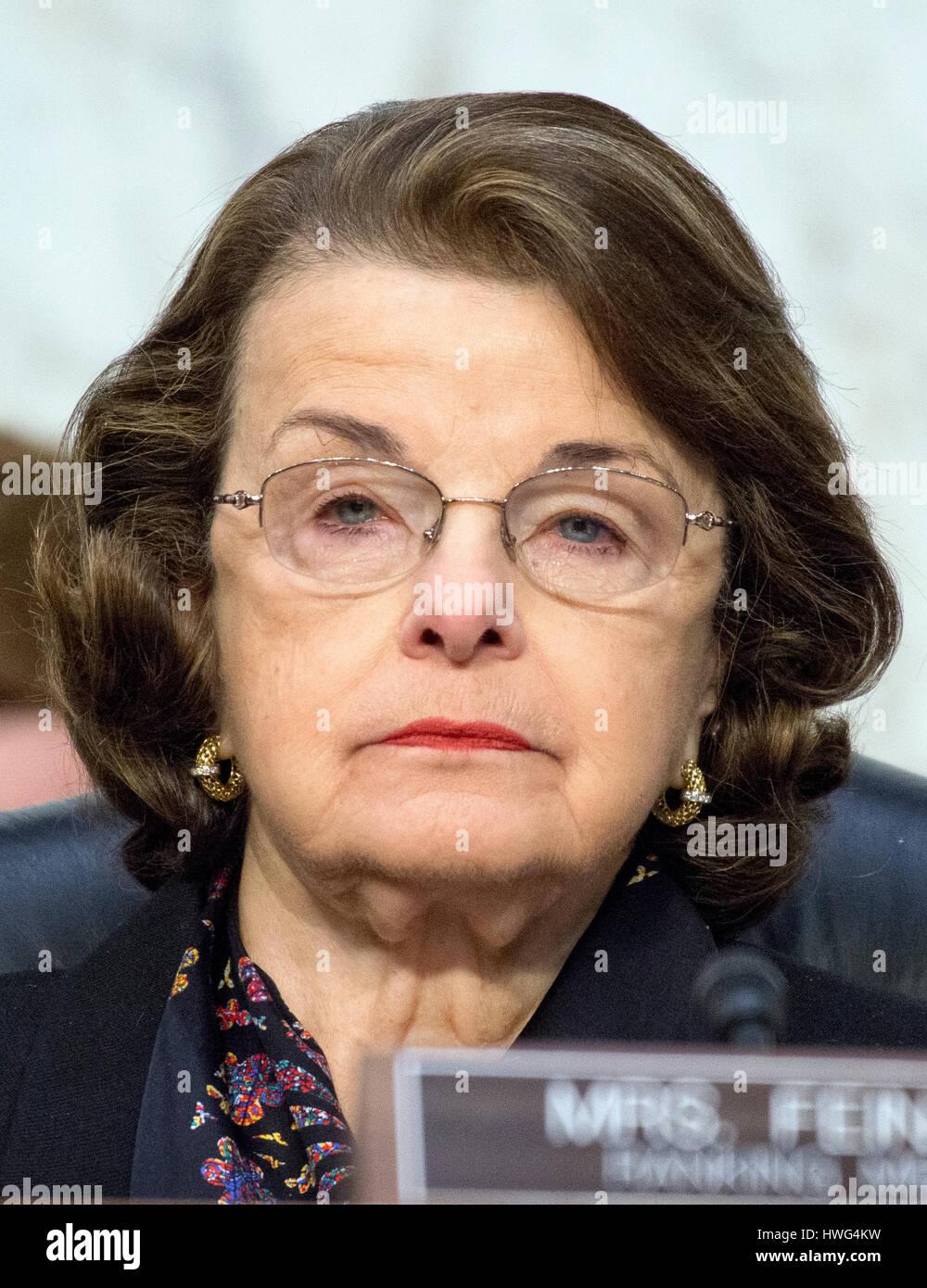 United States Senator Dianne Feinstein (Democrat of California) listens as Judge Neil Gorsuch testifies before the - Stock Image