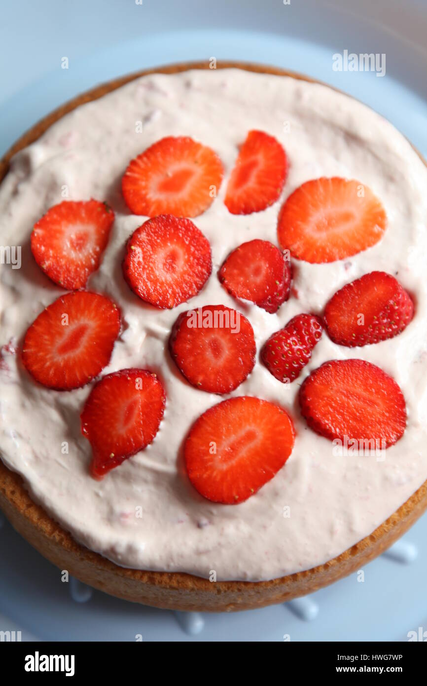 Finished homemade cake for a birthday. - Stock Image