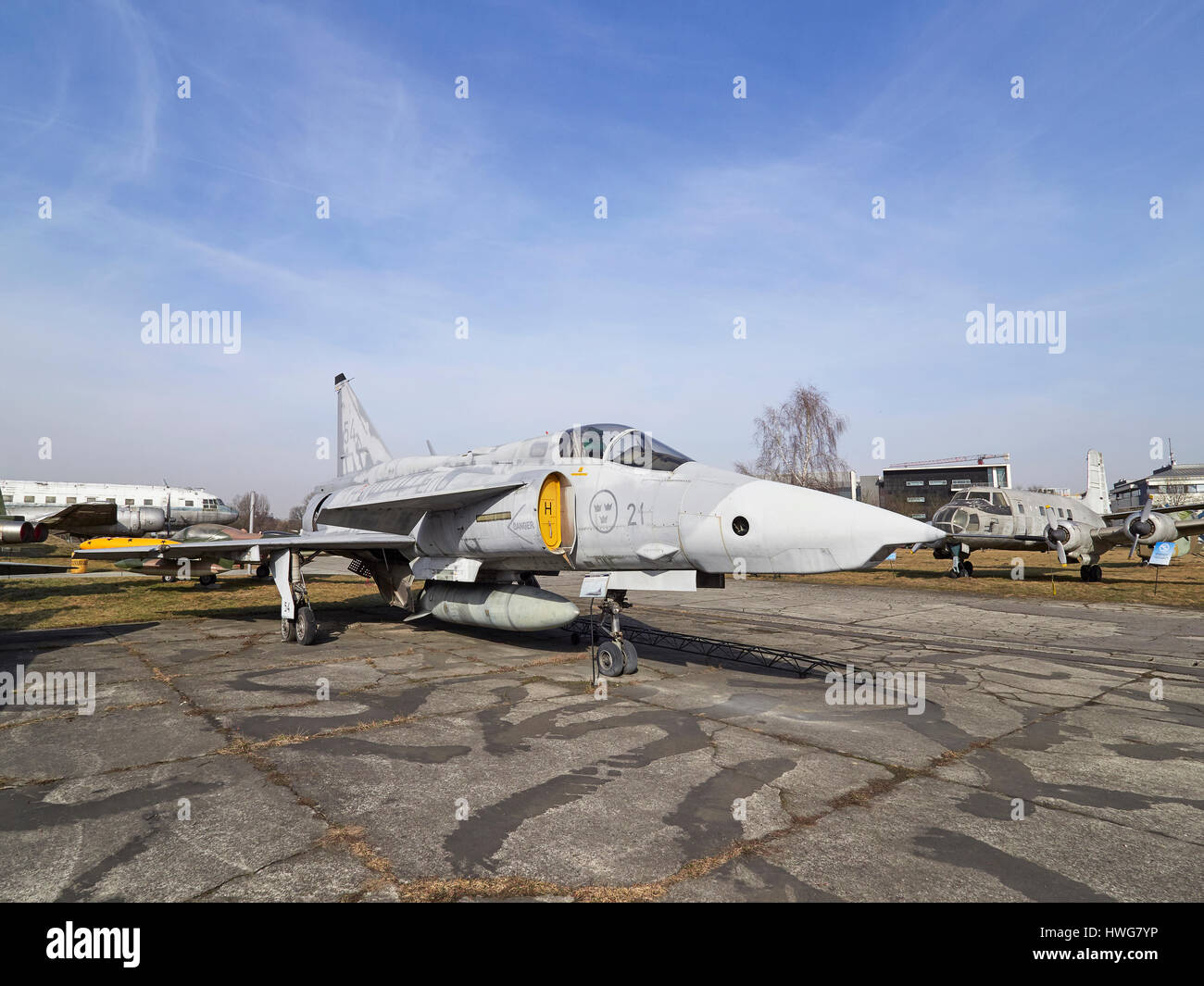 Swedish Saab 37 Viggen delta wing with a canard at the Krakow Aviation museum in Poland - Stock Image