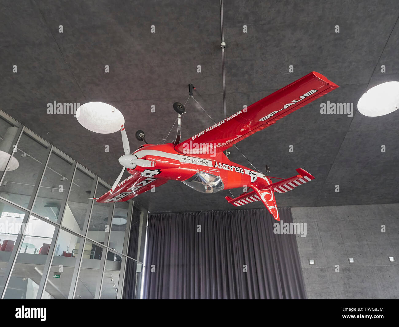 Zlin 50L aerobatic plane from Czech republic at the Krakow Aviation museum in Poland - Stock Image