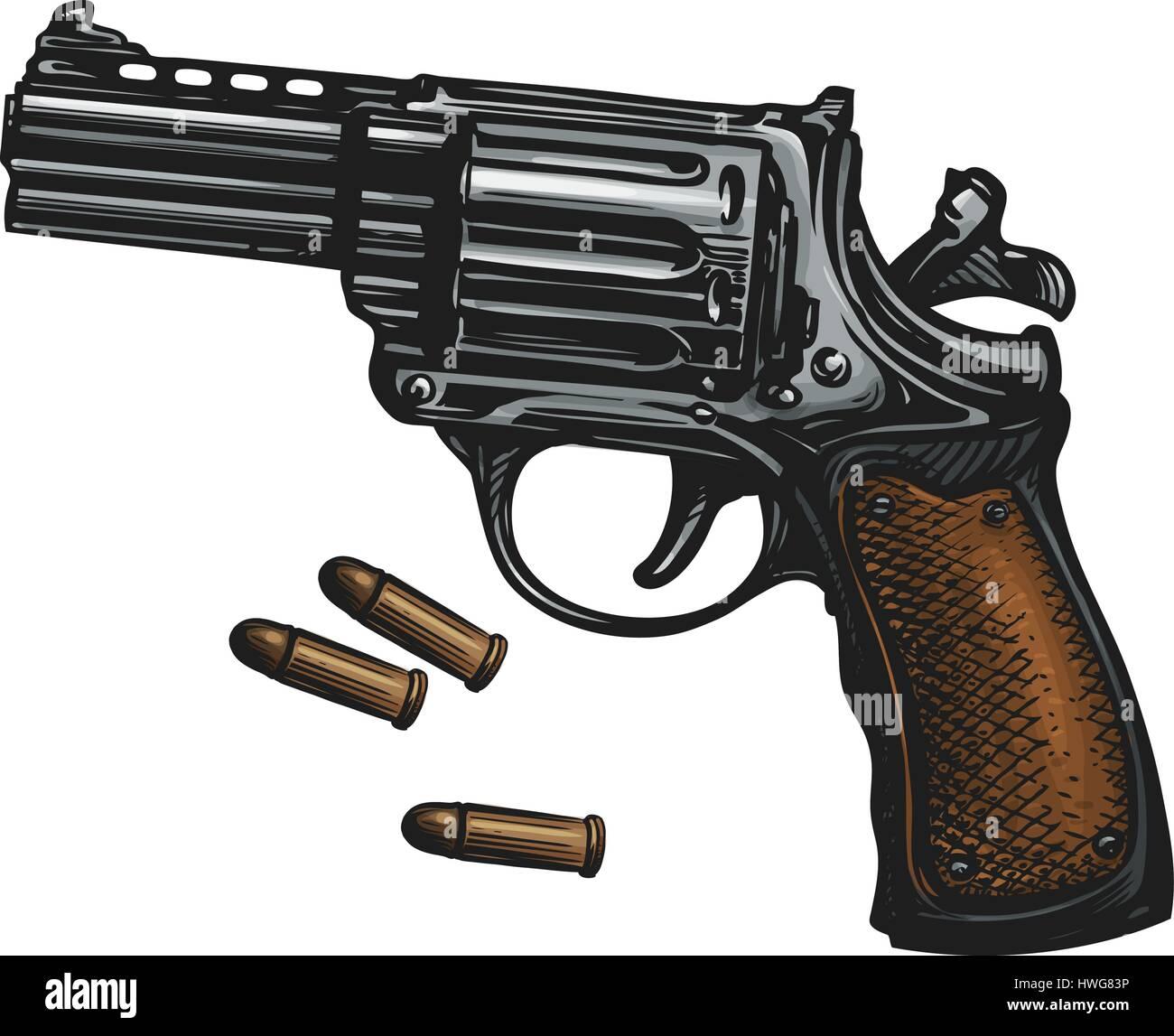 Pistol, revolver gun and ammo, sketch. Vintage vector illustration - Stock Vector