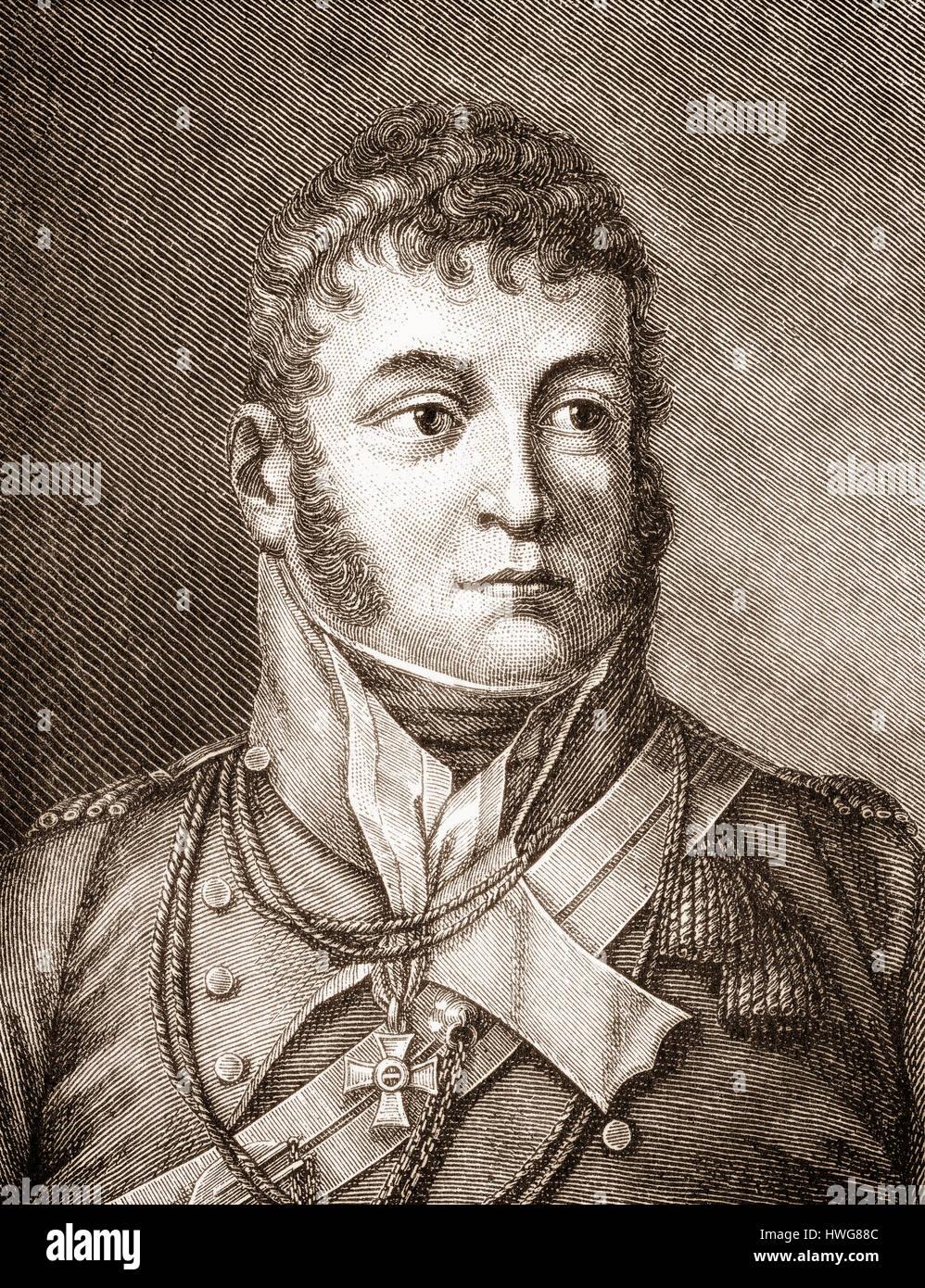 Karl Philipp Fuerst zu Schwarzenberg, 1771 - 1820, an Austrian field marshal and ambassador in Paris - Stock Image